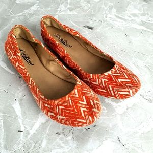 Lucky Brand Emmie Orange Print Fabric Flats